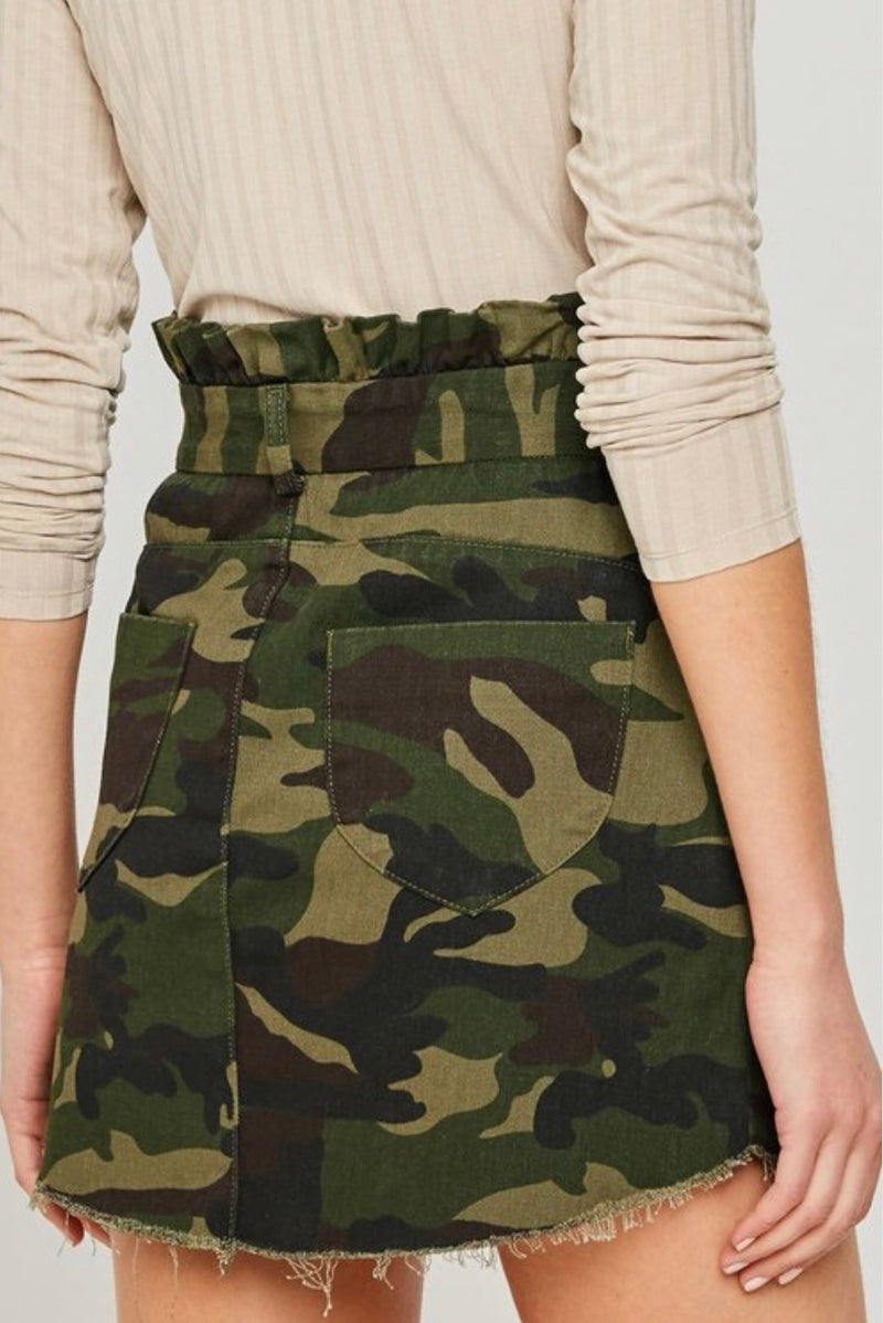 Buy Paperbag Camo Denim Skirt online at Southern Fashion Boutique Bliss