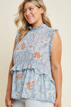 Buy Floral Smock Neck Ruffle Top Blue Mix online at Southern Fashion Boutique Bliss