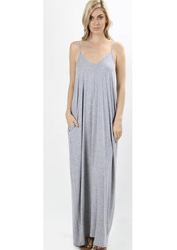 Buy Cami V-Neck Maxi Dress with Side Pockets Grey online at Southern Fashion Boutique Bliss