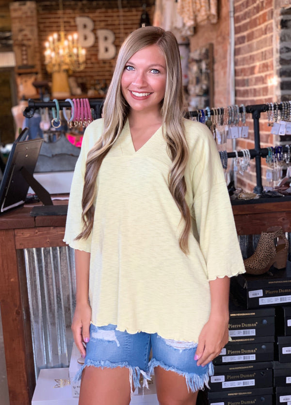 Textured Rayon 3/4 Sleeve Top Lemon