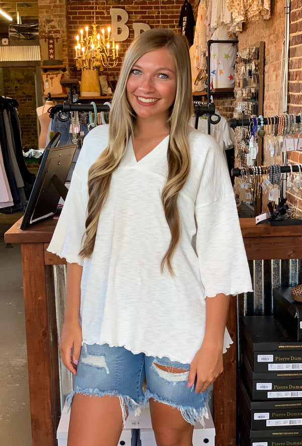 Buy Textured Rayon 3/4 Sleeve Top White online at Southern Fashion Boutique Bliss