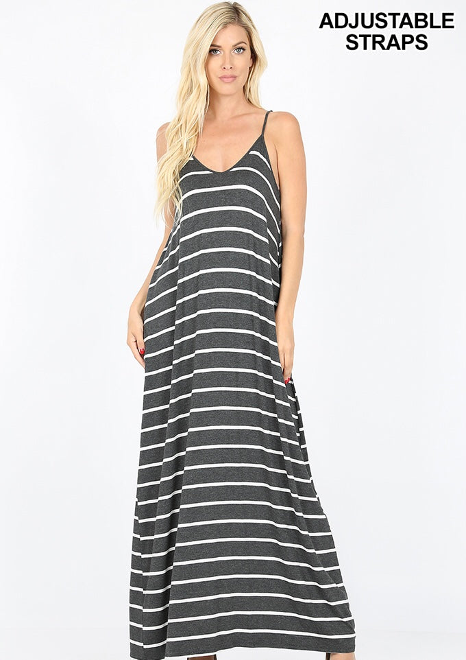 Buy Cami Striped V-Neck Maxi Dress w/Side Pockets Charcoal online at Southern Fashion Boutique Bliss