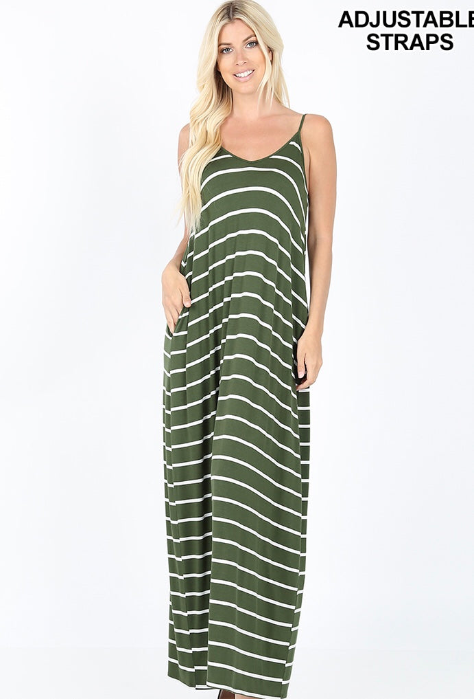 Buy Cami Striped V-Neck Maxi Dress w/Side Pockets Green online at Southern Fashion Boutique Bliss