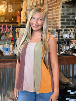 Buy Jersey Knit Tank w/Tie Sleeve Multi-Color online at Southern Fashion Boutique Bliss