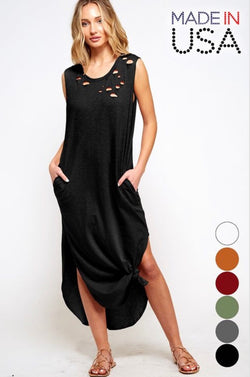 Buy Tank Top Maxi Dress w/Side Slits Black online at Southern Fashion Boutique Bliss