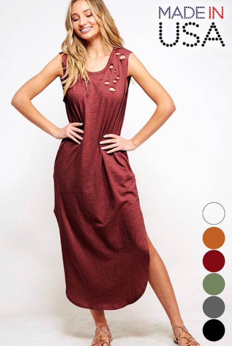 Buy Tank Top Maxi Dress w/Side Slits Merlot online at Southern Fashion Boutique Bliss