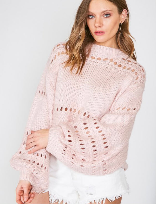 Balloon Sleeves Open Knit Sweater Blush