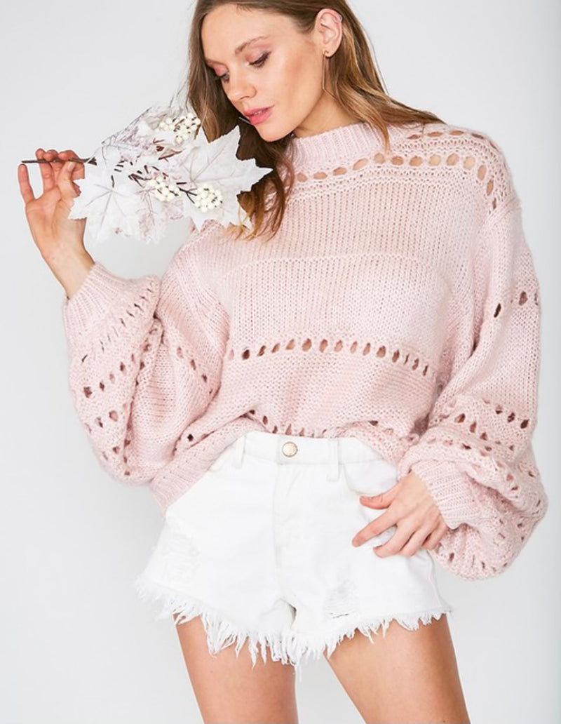 Buy Balloon Sleeves Open Knit Sweater Blush online at Southern Fashion Boutique Bliss