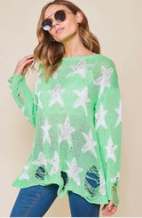 Buy Distressed Star Print Knit Lightweight Sweater Mint online at Southern Fashion Boutique Bliss