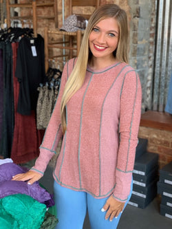 Solid Knit Fabric Casual Top Rust - Athens Georgia Women's Fashion Boutique