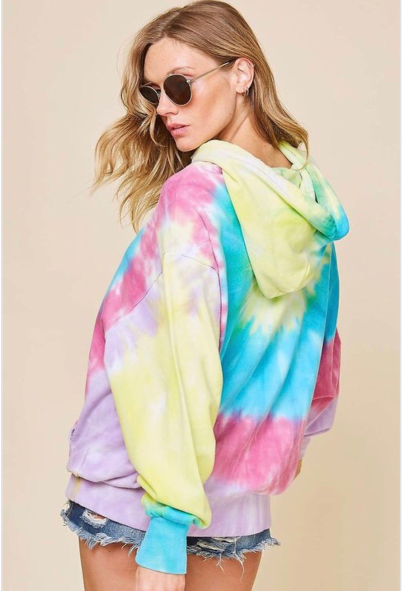Tie Dye Knit Hoodie Top Multi - Athens Georgia Women's Fashion Boutique