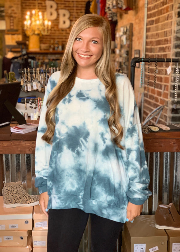 Buy Tie Dye French Terry Sweatshirt Teal online at Southern Fashion Boutique Bliss