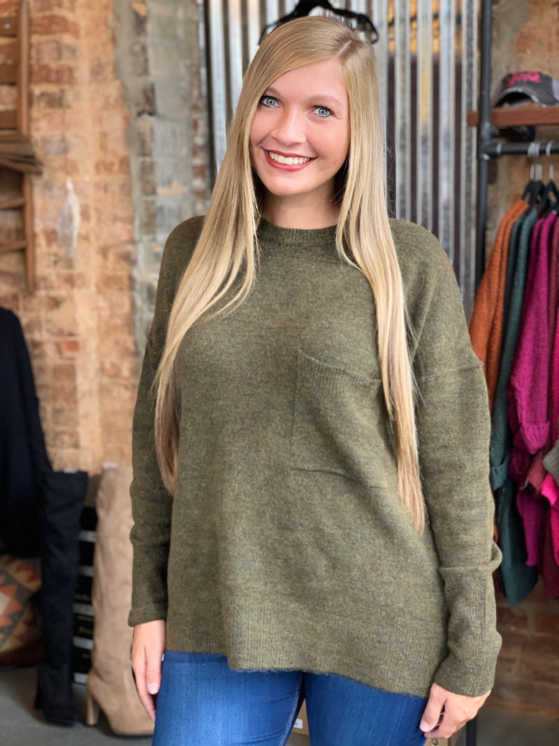 Buy Hi-Low Pocket Sweater Olive online at Southern Fashion Boutique Bliss