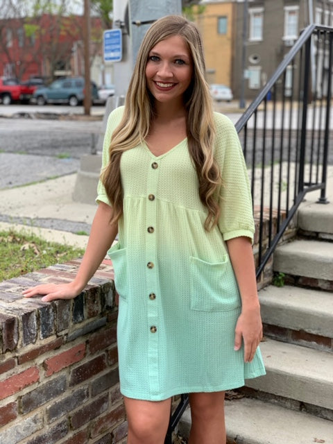 Buy Waffle Knit V-Neck Front Pocket Dress Lime online at Southern Fashion Boutique Bliss