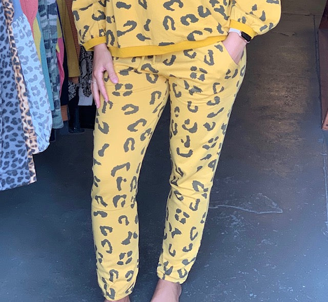 Buy Animal Printed Terry Knit Pants Mustard S1 online at Southern Fashion Boutique Bliss