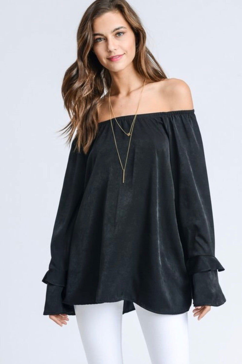 Buy Tiered Bell Sleeves Satin Off Shoulder Top Black online at Southern Fashion Boutique Bliss
