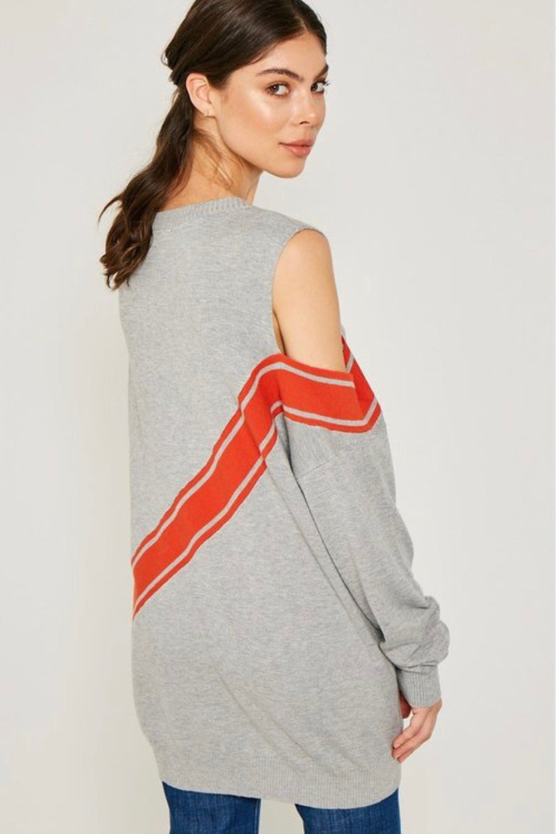 Buy Knit Shoulder Cutout Sweater Top Heather Grey online at Southern Fashion Boutique Bliss