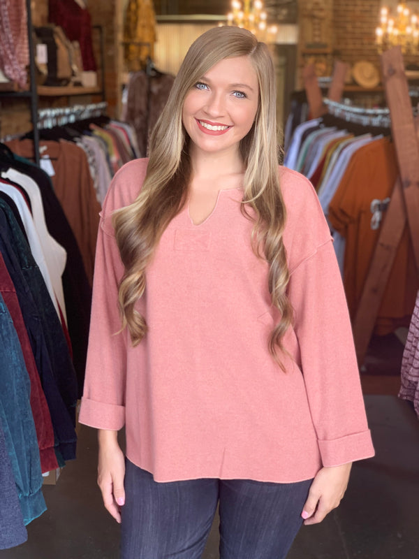 Buy Heavyweight Slouchy Pullover Top Coral online at Southern Fashion Boutique Bliss