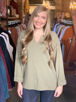 Heavyweight Slouchy Pullover Top Olive