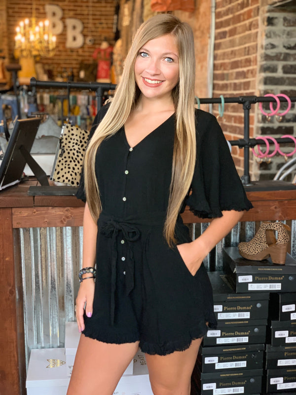 Buy V-Neck Button Front Short Ruffle Romper Black online at Southern Fashion Boutique Bliss