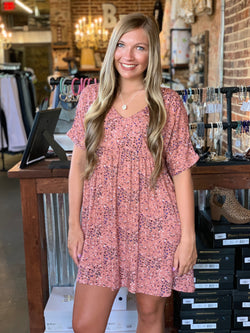 Buy Speckled Polka Dot Baby Doll Dress Mauve online at Southern Fashion Boutique Bliss