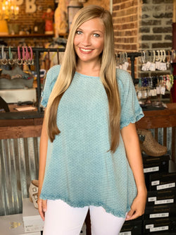 Buy Textured Challie Mineral Washed Top Faded Navy online at Southern Fashion Boutique Bliss