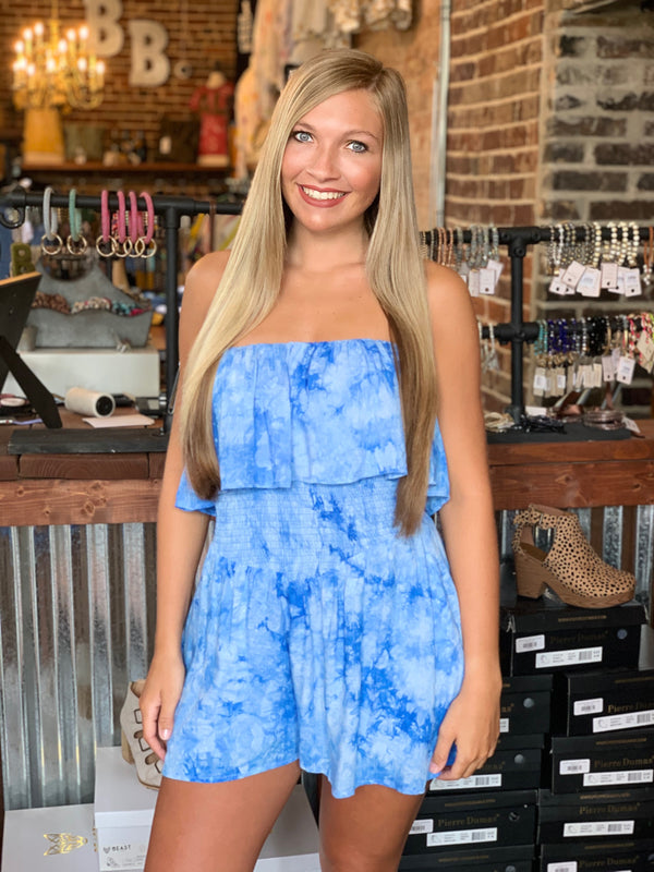 Buy Off Shoulder Ruffle Top Side Pocket Romper Blue online at Southern Fashion Boutique Bliss