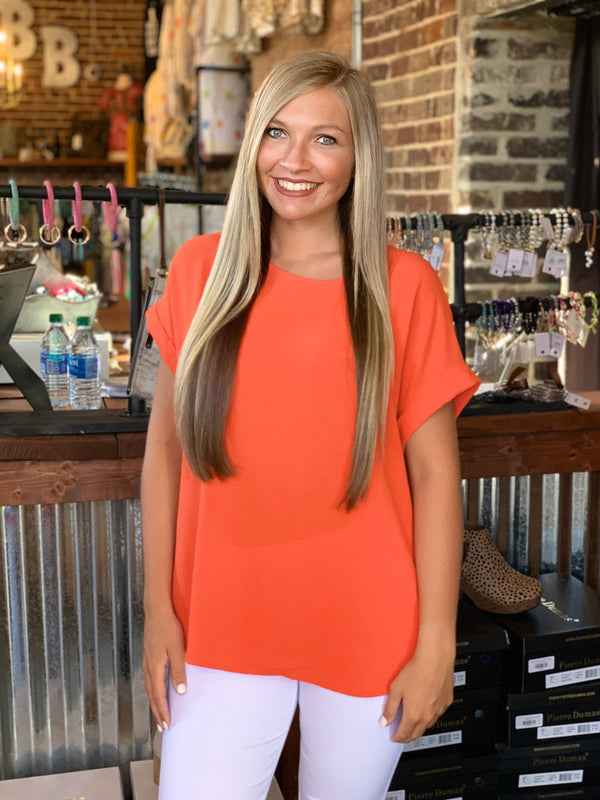 Rolled Up Sleeve Loose Fit Tunic Top Hot Coral