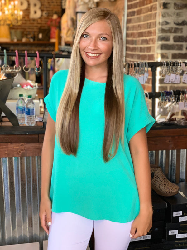 Buy Rolled Up Sleeve Loose Fit Tunic Top Seafoam online at Southern Fashion Boutique Bliss