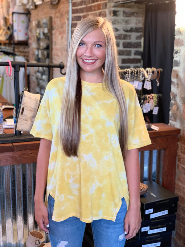 Buy Short Sleeve Tie Dye Top Mustard online at Southern Fashion Boutique Bliss