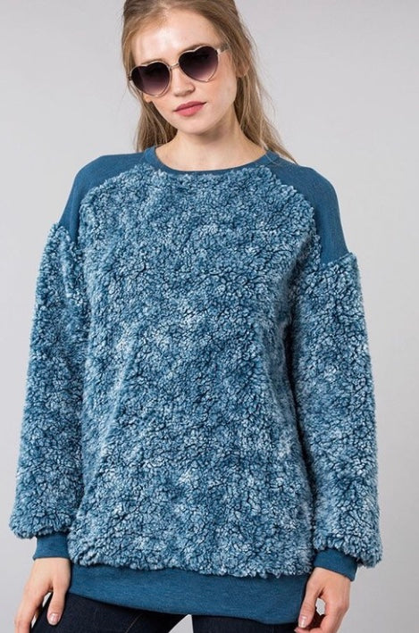 Buy Round Neck Fur Fabric Pullover Teal online at Southern Fashion Boutique Bliss