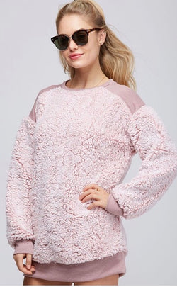 Buy Round Neck Fur Fabric Pullover Blush online at Southern Fashion Boutique Bliss