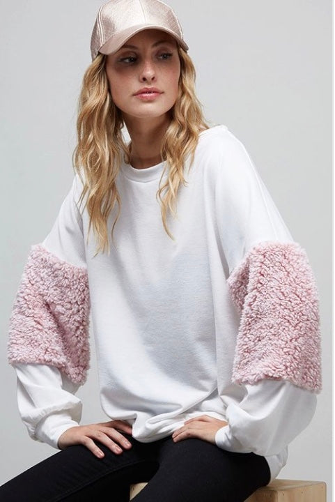 Buy Round Neck Sweatshirt Fur Balloon Sleeves Off White online at Southern Fashion Boutique Bliss