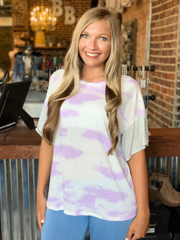 Buy Tie Dye Round Neck Top Lilac online at Southern Fashion Boutique Bliss
