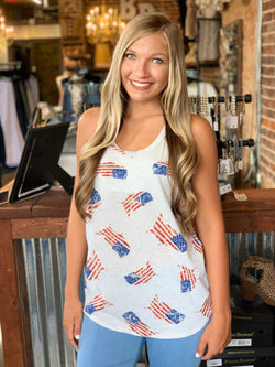Buy American Flag Top With a Deep Round Neckline online at Southern Fashion Boutique Bliss