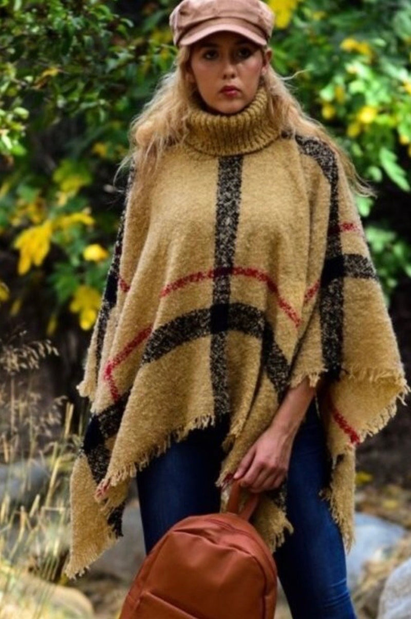 Buy Cozy Plaid Turtle Neck Poncho Top Tassel Taupe online at Southern Fashion Boutique Bliss