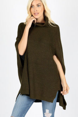 Buy Turtleneck Poncho Sweater Top Dark Olive online at Southern Fashion Boutique Bliss