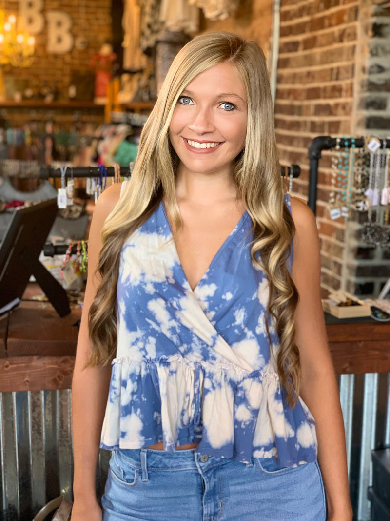 Tie Dye Sleeveless Knit Top Cream/Denim