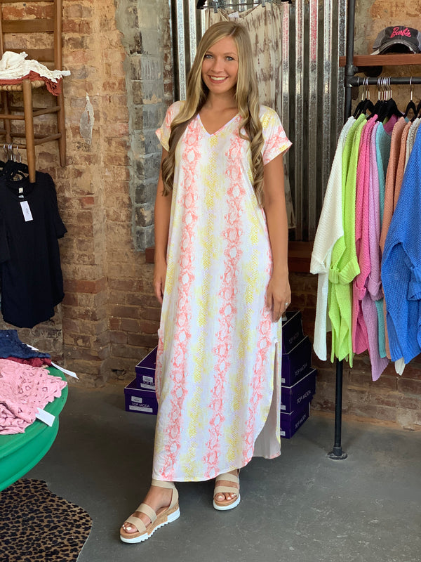 Buy Multi Color Striped Maxi Dress Peach Multi online at Southern Fashion Boutique Bliss