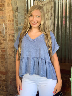 Buy Dye Knit Babydoll Top Denim online at Southern Fashion Boutique Bliss