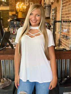 Buy Short Sleeve Criss Cross Top Ivory online at Southern Fashion Boutique Bliss