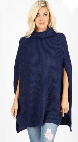 Buy Turtleneck Poncho Sweater Top Navy online at Southern Fashion Boutique Bliss