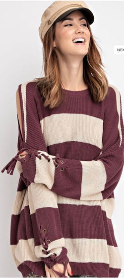 Buy Stripe Printed Cold Shoulder Sweater Tunic Plum online at Southern Fashion Boutique Bliss