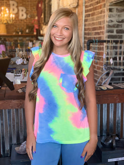 Buy Tie Dye Ruffle Sleeve Top Hot Pink Mix online at Southern Fashion Boutique Bliss