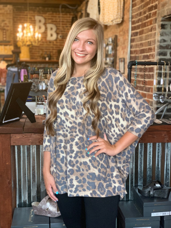 Leopard Print Oversize Top Brown