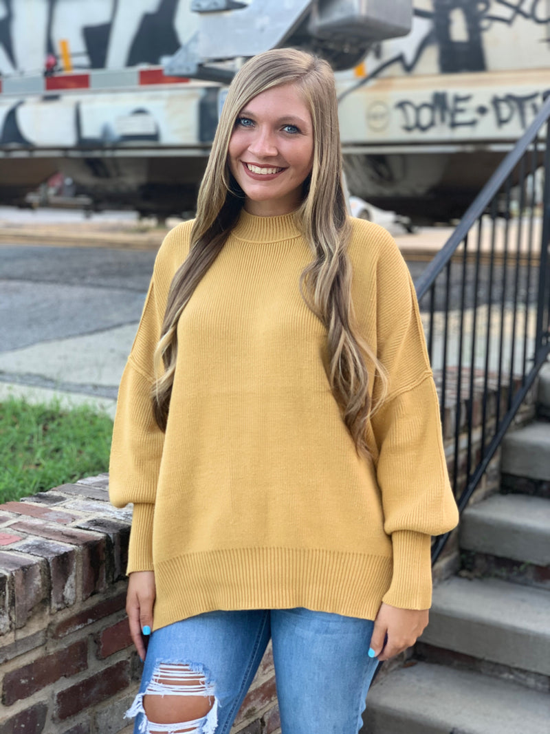 Oversize Sweater with Side Slit Mustard