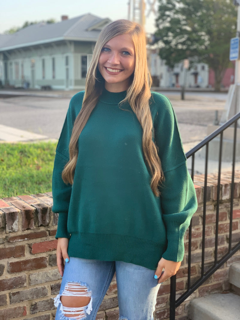 Oversize Sweater with Side Slit Green