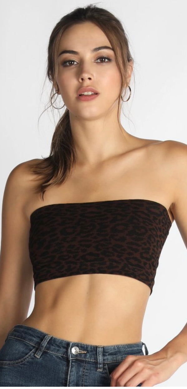Buy Bandeau Bra Top with Leopard Print Design Brown online at Southern Fashion Boutique Bliss