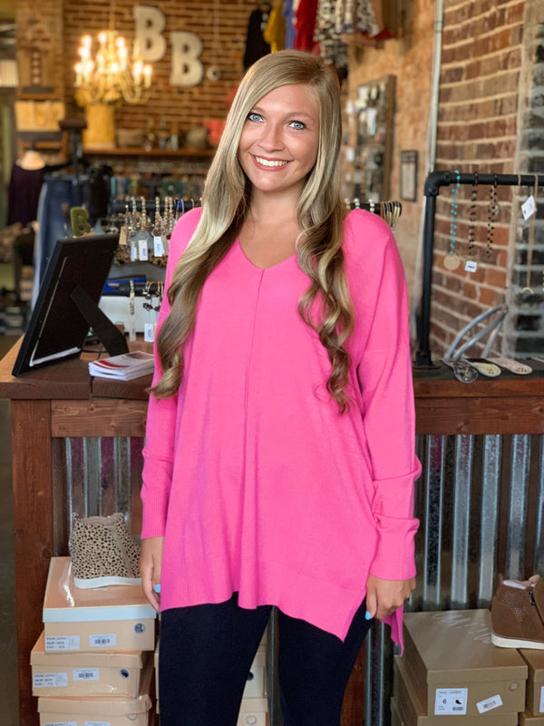 Buy Garment Dye Hi-Low Sweater Fuchsia online at Southern Fashion Boutique Bliss