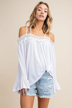 Buy Crochet Trimmed Open Shoulder Knit Top White online at Southern Fashion Boutique Bliss